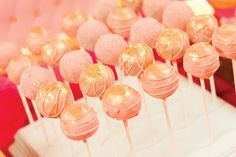 Pink and Gold Sparkly cake pops for a Ballerina baby shower Pink Gold Cake, Sparkly Cake, Pink Cake Pops, Pink Gold Party, Pink And Gold, Coral Cake, Peach Party, Gold Birthday Cake, Ballerina Birthday