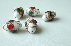 Rare Vintage Murano White Wedding Cake Beads Applied by Verse1