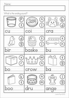 Alphabet & Letter Sounds Review No Prep write the missing ending sounds Phonics Reading, Teaching Phonics, Phonics Worksheets, Teaching Reading, Jolly Phonics, Reading Comprehension, Teaching Resources, Kindergarten Language Arts, Preschool Learning