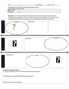 This graphic organizer requires the student to use visualizing, summarizing and questioning skills in order to make more sense of what they are reading. The sheet also includes author's purpose and central idea questions to tie together the comments they have written in the strategy portion of the sheet.