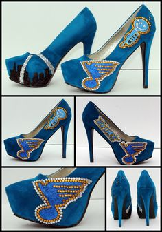 For the St Louis Blues hockey lady. Crystal and Glitter .wouldn't wear them but I like them Crazy Shoes, Me Too Shoes, Decorated Toms, Hockey Shoes, Hockey Baby, Ice Hockey, St Louis Blues, Go Blue, Glitter Shoes