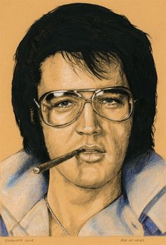"I finished Elvis in Charcoal #119 today. ""Burning Love"" Charcoal, white chalk, colored pencil and ink on colored paper, 15 x 21 cm. For sale. www.elvis-art.com"