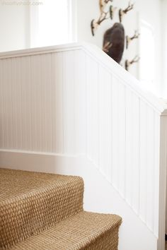 sisal carpet on steps,white painted wood. Atchison Home Cost Of Carpet, Types Of Carpet, Carpet Styles, Textured Carpet, Beige Carpet, Patterned Carpet, Modern Carpet, Green Carpet, Sisal Carpet