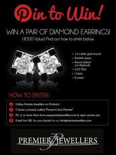 Pin to Win a Pair of Diamond Earrings! Create A Board, Round Cut Diamond, Giveaway, Diamond Earrings, White Gold, Presents, Pairs, Jewels, Holidays
