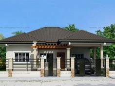 Pinoy eplans presents Clarissa model, a one story house with 3 bedrooms and 2 baths. With a total floor area of 108 sq., this one story house is accommodated in a lot with 228 sq. Modern Bungalow House Design, Small Bungalow, Simple House Design, Simple House Plans, Cool House Designs, Bungalow Designs, Bungalow Ideas, Bungalow Homes, Modern Design