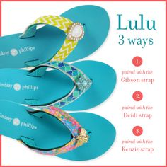 "Fun ""Scuba Blue"" Flip Flops with EVA Footbed. Change your look with interchangeable straps by Lindsay Phillips. #OneShoe #InfinitePossibilities"