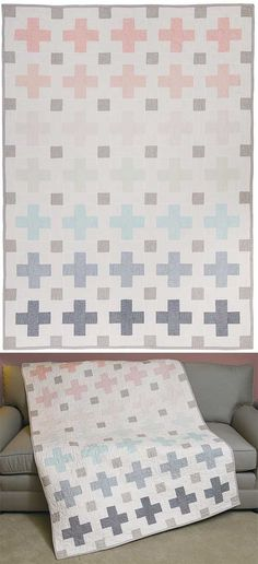 Harrison Crossing Quilt Pattern. Delicate use of colour.