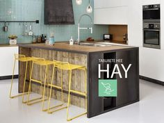 Taburetes Hee de Hay Small Kitchen Bar, Kitchen Island, Dining, Table, Furniture, Grande, Kitchens, Home Decor, Cooking