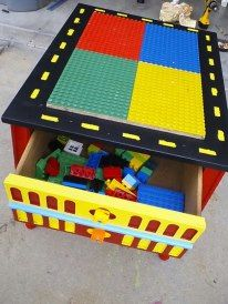 Took an old end table, turned it into a lego table with storage! diy