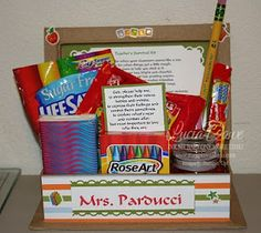 Cute teacher basket....I think it will be perfect for my intern in the fall as a good-bye present!