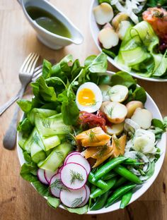 Nordic Nicoise Salad w/ Watercress, Smoked Salmon & Dill