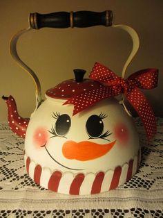 Hand Painted Vintage Copper Tea Kettle Pot Christmas Holiday Snowman Woman | eBay