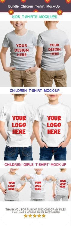 Bundle Children T-shirt Mock-Up by ahmedtawfek All item approved at the market beforeAbout the ProductKids T-Shirts Mock-Ups, Oreganized layers and easy chancing colors , very