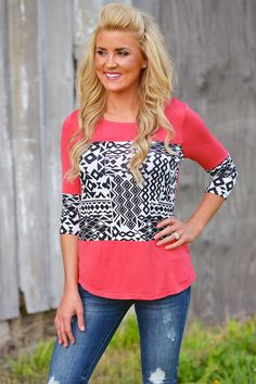 Show Me What You Got Aztec Top - Coral from Closet Candy Boutique
