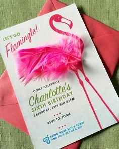 "Little Girl's Flamingo-themed Birthday Party Invitations. Original layout and design with craft store-bought feathers hot-glued after printing. Contact me at jaudet1@hotmail.com with the subject line ""Flamingo Invitation"" for pricing on your own custom downloadable file of this invitation."