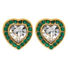Northern Indian Jeweled Heart Earrings, Green - The Met Store #hearts #metstore