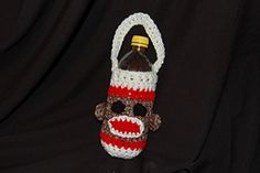 sock monkey water bottle carrier, free pattern