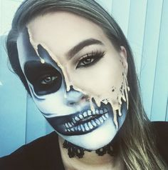 The melting skull: | 23 Jaw-Dropping Halloween Costumes Made Literally Only With Makeup