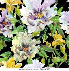 Watercolor Illustration Artwork Seamless Pattern Flowers Peony and Lilacs White and Yellow on Black Background - stock photo