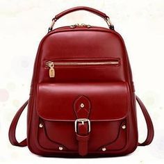 Faux-Leather Buckled Backpack