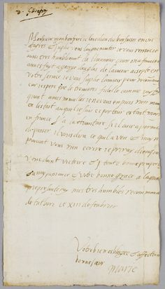 Letter from Mary Queen of Scots to her brother-in-law, Charles IX of France. Dated at Tutbury, 13 February