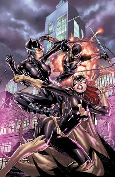 Batgirl and Catwoman vs. Talon by Ed Benes