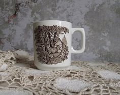 Meakin Romantic England Coffee Cup , Vintage Ironstone Brown Transferware Coffee Mug by J G Meakin England , Replacement China Vintage Table, Vintage Items, Modern Farmhouse Style, Hand Engraving, Coffee Cups, England, Romantic, Mugs, Brown