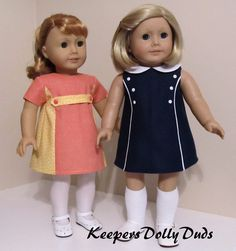 """1960s girls dress made to fit 18"""" American Girl Dolls 