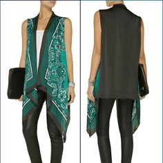 MIKE Korz *Silk Santeen Bandana Print Kimono* +Emeral Green Bandana Print +100% Silk + Size Small ( loose fit, will fit Med'z) +Great Cover up/ Spice up plain 'fit + Wardrobr Staple Peice + tags off but never actually worn Michael Kors Tops Camisoles