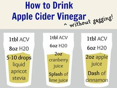 "How to drink apple cider vinegar without gagging. (No link) For all kinds of benefits of drinking ACV, just put ""apple cider vinegar benefits"" in you Pinterest search box and you'll get a myriad of opps to repin!"