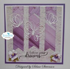 This card designed using Dancing Butterflies, Stitched Fishtail Banners, and Garden Notes Pansy dies from Elizabeth Craft Designs.  http://selmasstampingcorner.blogspot.com/2017/02/dancing-butterflies.html