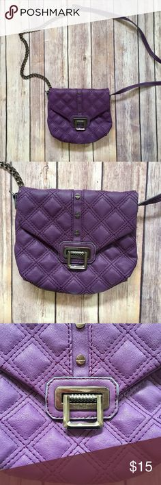 """Rachel Roy purple crossbody bag EUC EUC Rachel Roy cross body in a purple color. Has one inner slip pocket. No stains, tears or rips. The strap is half faux leather half dark metal chain ~22"""" long. Not adjustable. First photo shows true color! . . . •Brand:Rachel Roy  •Measurements: W: 8"""" (largest part, corners are tapered in) H: 6.75"""" D: ~1"""" •Material:faux leather •Condition:EUC Rachel Roy Bags Crossbody Bags"""