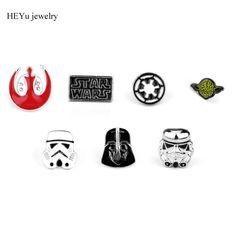 20pcs/lot Star Wars Stormtrooper Brooch Pin Star Wars Darth Vader Rebel Alliance Millennium Falcon Brooch badge lapel pin men #Affiliate