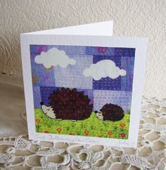 hedgehog fabric card   Greetings Card 'Just Following Our Noses'