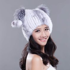 cccc84fae97 URSFUR Knited Mink Fur Beanie Hat with Silver Fox Fur Top Brand  URSFUR  Material