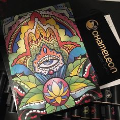 Gorgeous and very colourful page created by @colour2create with their Chameleon Pens.  #chameleonpens #chameleonmarkers #colouring #alcoholmarkers #adultcoloringbook   #colouringbooksforadults #colour2create #colouringformindfulness #colourful