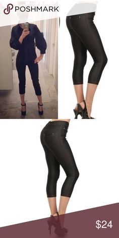 """Black Skinny Capri Jeggings Basic 5 pocket Capri Jegging with non functional button& zipper closer  66% cotton, 27% poly, 5% spandex   Tags say large but fits an extra large very stretchy material.   L/XL Waist 39.75""""/ hip 36""""/ front rise 10.5""""/ back rise 14"""" Bchic Pants Capris"""