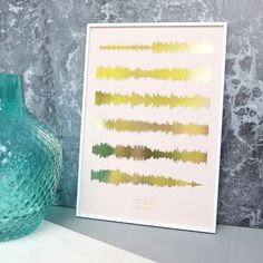 Limited Edition Rose Gold On Blush Sound Wave Print From Not On The High  Street.