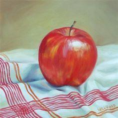 """Apple with Red Stripes"" - Original Fine Art - SOLD - © Kathleen Williford Apple Art, Still Life Fruit, Painting Still Life, Realistic Drawings, Fine Art Gallery, Red Stripes, Original Art, Watercolor, Art Themes"