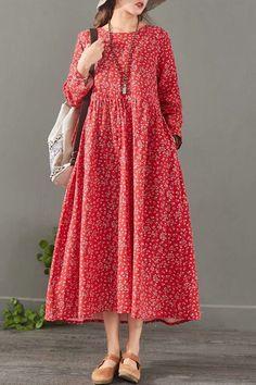 Loose Floral Cotton Linen Maxi Dresses For Women 1527 - Loose dress - Sewing Patterns Linen Dresses, Women's Dresses, Cotton Dresses, Fashion Dresses, Loose Dresses, Dance Dresses, Dresses Online, Pregnant Outfit, Mode Boho