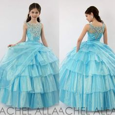 Wholesale Flower Girl's Dresses - Buy 2015 New Arrival Blue Puffy Girl's Pageant…