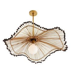 Old world techniques are brought into play with this naturally unique pendant. An array of buri sticks bound with thin pieces of rattan flow from an antique brass steel stem into a wavy, parasol-esque shape. Woodbeads trim the slightly askew foundation, e Luxury Chandelier, Luxury Lighting, Unique Lighting, Pendant Lighting, Chandeliers, Diy Pendant Light, Floral Chandelier, Rectangle Chandelier, Black Chandelier