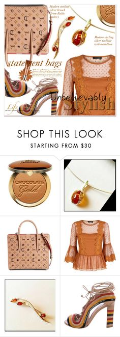 """""""#StatementBags"""" by selmir ❤ liked on Polyvore featuring Too Faced Cosmetics, Christian Louboutin, Paula Cademartori, By Terry, WALL, jewelry, necklace and statementbags"""