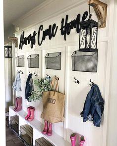 CottonStem.com farmhouse mudroom hallway entryway organization and school drop zone decor ideas