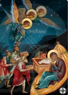 Nativity Scene - The visit of the Magi… Byzantine Icons, Byzantine Art, Religious Icons, Religious Art, Greek Icons, Biblical Art, Catholic Art, Christmas Nativity, Orthodox Icons