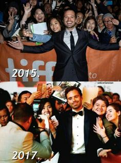 """Sebastian ✪ Stan 2015 """"This is great"""" compared to 2017 """"This is cool. I'm still enjoying this but can we hurry it up a bit now """"."""