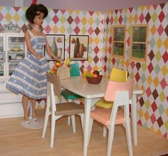Barbie's Kitchen featuring the Reading Table and Chairs.