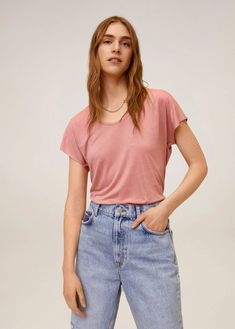 Camiseta básica - Mujer | Mango España Mango Presents, Mango France, Latest Fashion Trends, Mom Jeans, V Neck, Tees, Casual, Outfits, Collection
