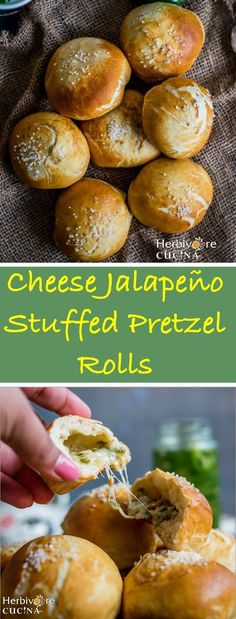 Herbivore Cucina: Cheese Jalapeño Stuffed Pretzel Rolls for #BreadBakers..These Cheese Jalapeño Stuffed Pretzel Rolls are SO GOOD; you can have them for breakfast, as an appetizer or a perfect Game-Day snack! Stuffed with spicy jalapeño and gooey cheese, these golden brown balls of goodness should be on your table soon!  #Pretzels #baking #egglessbaking #bread #homemade #cheese