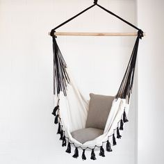 soho deluxe cream hammock chair with black tassels